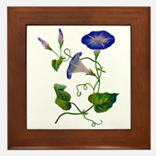 Embroidered Morning Glories Framed Tile