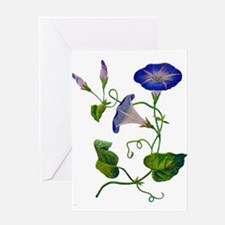 Embroidered Morning Glories Greeting Card