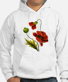 Embroidered Red Poppy Hoodie