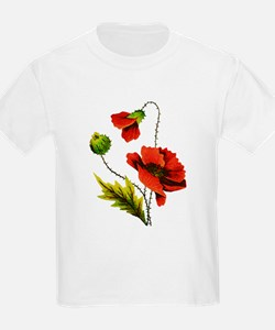 Embroidered Red Poppy T-Shirt