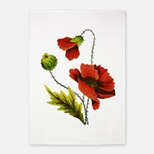 Embroidered Red Poppy 5'x7'Area Rug