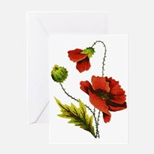 Embroidered Red Poppy Greeting Card