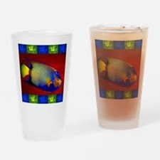 Fish Flowers Red Yellow Blue Drinking Glass