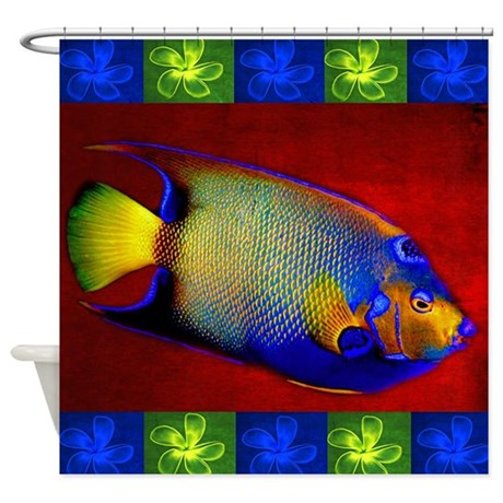 Fish Flowers Red Yellow Blue Shower Curtain By Admin