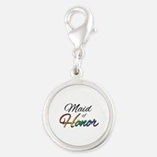"Rainbow ""Maid of Honor"" Silver Round Charm"