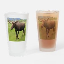 Alaskan moose with antlers 2 Drinking Glass