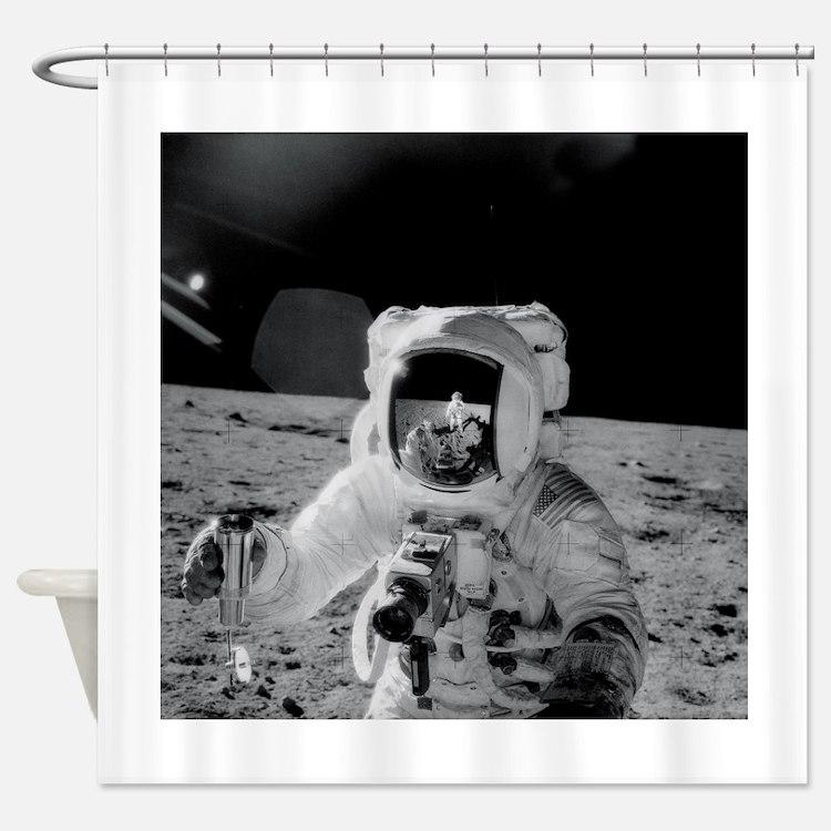 Apollo 12 Astronauts explore the Mo Shower Curtain