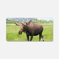 Alaskan moose with antlers Aluminum License Plate