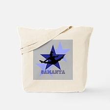 Gray and Blue Cheerleader Tote Bag