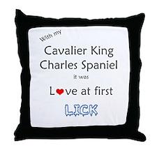 Cavalier Lick Throw Pillow