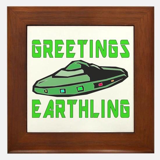 Greetings Earthling (Green Version) Framed Tile