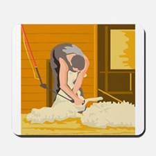 Farmer Farmworker Shearing Sheep WPA Mousepad