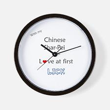 Shar Pei Lick Wall Clock