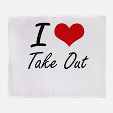 I love Take Out Throw Blanket