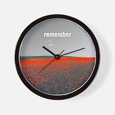 Poppy Field - Remember Wall Clock