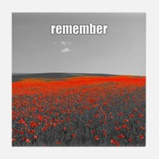 Poppy Field - Remember Tile Coaster