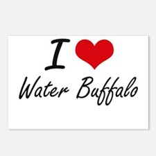 I love Water Buffalo Postcards (Package of 8)