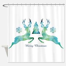 Geometric Christmas Deer Shower Curtain
