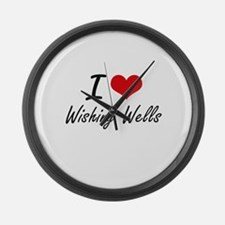 I love Wishing Wells Large Wall Clock