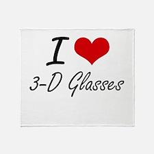 I love 3-D Glasses Throw Blanket