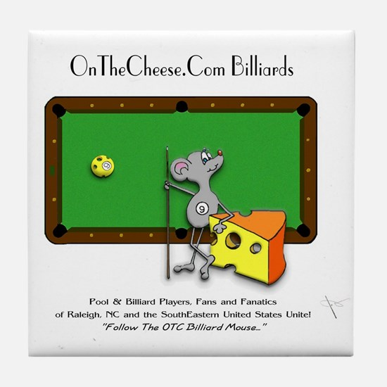 On The Cheese Billiard Mouse Tile Coaster