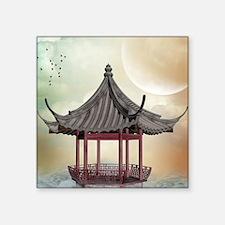 "Oriental Gazebo Square Sticker 3"" x 3"""