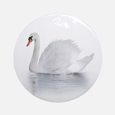 White Swan Round Ornament