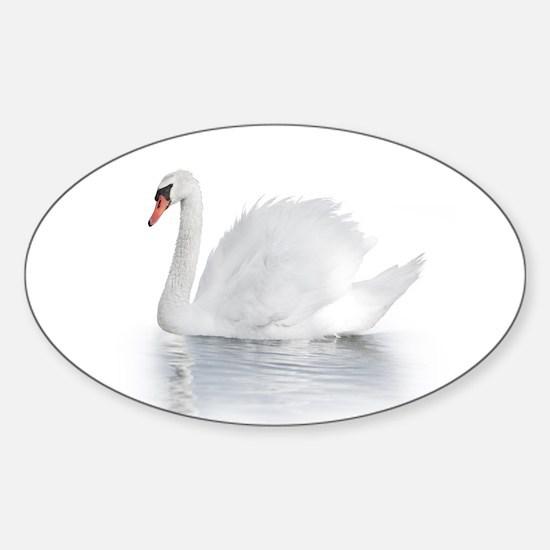 White Swan Sticker (Oval)