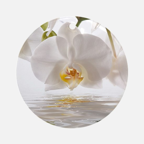 White Orchids Round Ornament