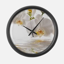 White Orchids Large Wall Clock