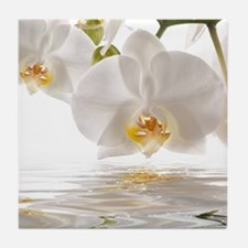 White Orchids Tile Coaster