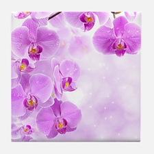 Purple Orchids Tile Coaster