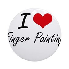 I love Finger Painting Round Ornament