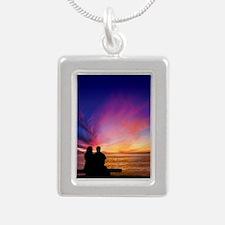 Romantic Sunset Silver Portrait Necklace