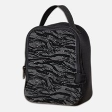 Gray Striped Camo Neoprene Lunch Bag