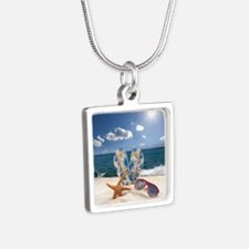 Summer Beach Vacation Silver Square Necklace