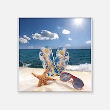 "Summer Beach Vacation Square Sticker 3"" x 3"""