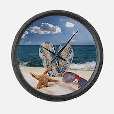 Summer Beach Vacation Large Wall Clock