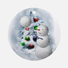 Volleyball Snowman xmas Round Ornament