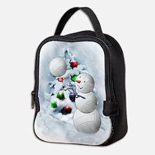Volleyball Snowman xmas Neoprene Lunch Bag