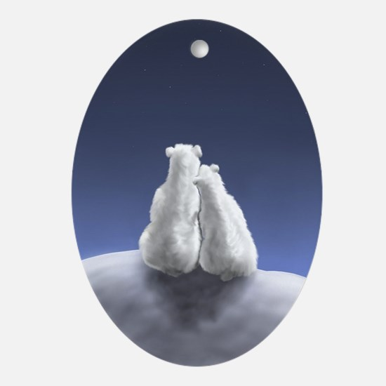 Polar Bears by Moonlight Oval Ornament