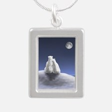 Polar Bears by Moonlight Silver Portrait Necklace
