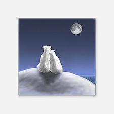 "Polar Bears by Moonlight Square Sticker 3"" x 3"""
