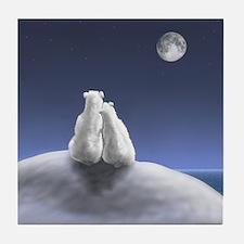 Polar Bears by Moonlight Tile Coaster