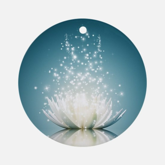 White Lotus Magic Round Ornament