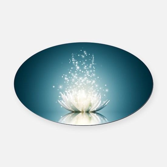 White Lotus Magic Oval Car Magnet