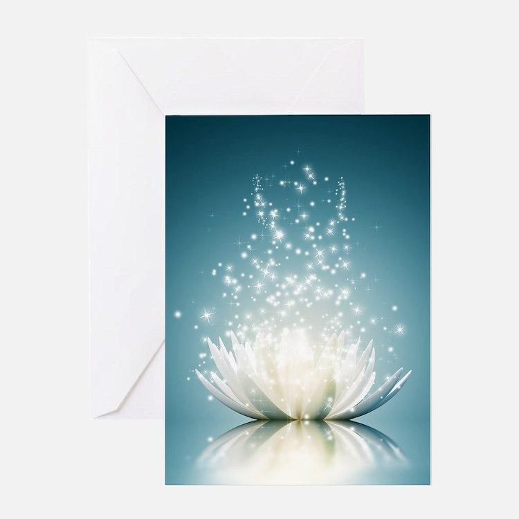 White Lotus Magic Greeting Card