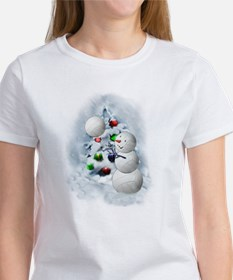 Volleyball Snowman xmas T-Shirt