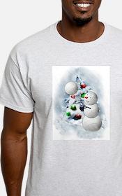 Volleyball Snowman xmas T-Shirt