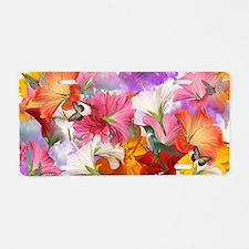 Hibiscus Butterflies Aluminum License Plate